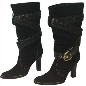 Shoes - Coach suede braided belt mid calf Randie boots